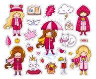 Ensemble d'autocollants mignons d'automne Petites filles de Kawaii, tenant la feuille, café, livre illustration de vecteur