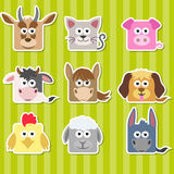 Ensemble d'autocollants mignons d'animaux de maison de place de bande dessinée Images stock