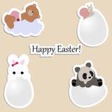 Ensemble d'autocollants mignons de bébé pour Pâques collection des insignes et du s illustration de vecteur