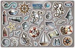 Ensemble d'autocollants nautiques de bande dessinée de vecteur illustration stock