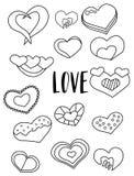 Ensemble d'autocollants noirs et blancs de coeurs Éléments de jour du ` s de Valentine Badine la page de coloration de jeu Photos libres de droits