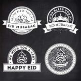 Ensemble d'autocollants ou de labels pour Eid Mubarak Photographie stock libre de droits