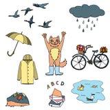 Ensemble d'automne de dessins Croquis coloré, dessin de main Contour avec différentes couleurs sur le fond blanc Vecteur illustration stock