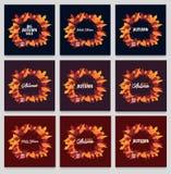 Ensemble d'Autumn Background avec des feuilles bannière pour l'affiche de achat de vente ou de promo et de cadre tract ou Web Tem Photo stock