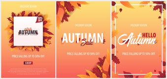 Ensemble d'Autumn Background avec des feuilles bannière pour l'affiche de achat de vente ou de promo et de cadre tract ou Web Tem Image stock
