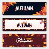 Ensemble d'Autumn Background avec des feuilles bannière pour l'affiche de achat de vente ou de promo et de cadre tract ou Web Tem Photos libres de droits