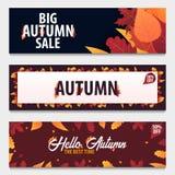 Ensemble d'Autumn Background avec des feuilles bannière pour l'affiche de achat de vente ou de promo et de cadre tract ou Web Tem Photo libre de droits
