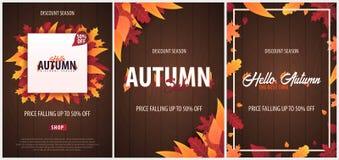 Ensemble d'Autumn Background avec des feuilles bannière pour l'affiche de achat de vente ou de promo et de cadre tract ou Web Tem Images stock