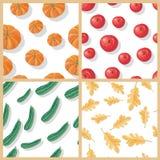 Ensemble d'Autumn Harvest Vector Seamless Patterns Photos stock