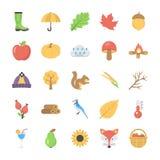 Ensemble d'Autumn Icon plat Photo stock