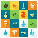 Ensemble d'Autumn Icons plat Images stock