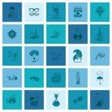 Ensemble d'Autumn Icons plat Images libres de droits