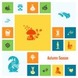 Ensemble d'Autumn Icons plat Photo libre de droits