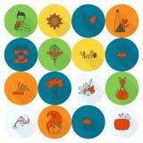 Ensemble d'Autumn Icons plat Image stock