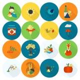 Ensemble d'Autumn Icons plat Photos stock