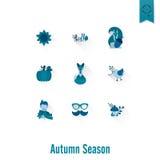 Ensemble d'Autumn Icons plat Photographie stock