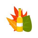 Ensemble d'Autumn Leaves et de bouteille d'illustration de vecteur de bière Photos stock