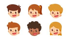 Ensemble d'avatar de bande dessinée Garçons et filles mignons dans différents styles Photos libres de droits
