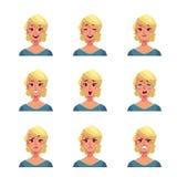 Ensemble d'avatars blonds d'expression de visage de femme Photos stock