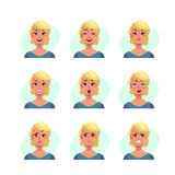 Ensemble d'avatars blonds d'expression de visage de femme Images libres de droits