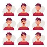 Ensemble d'avatars d'expression de visage de jeune homme Photos stock