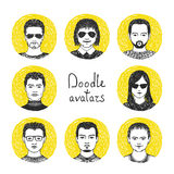 Ensemble d'avatars de dessin de main Image stock