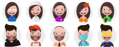 Ensemble d'avatars, de personnes positives, de femelle et de professions de mâle Image stock
