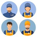 Ensemble d'avatars des constructeurs constructeurs Style plat d'icônes de cercle Constructeur masculin illustration stock