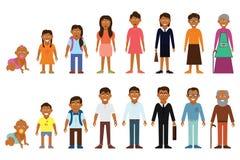 Ensemble d'avatars ethniques de générations de personnes d'afro-américain à différents âges Équipez les icônes vieillissantes eth Photo stock