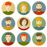 Ensemble d'avatars masculins et féminins Image stock