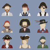 Ensemble d'avatars pirate Photographie stock