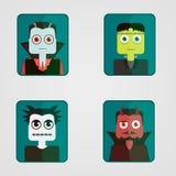Ensemble d'avatars sur un thème de Halloween Photos libres de droits