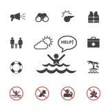 Ensemble d'avertissement d'icône de maître nageur et de plage Photo libre de droits