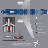 Ensemble d'avion avec la carte de Seat d'isolement Image stock