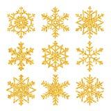 Ensemble d'or de scintillement de flocon de neige avec la texture de scintillement pour Noël d'isolement sur le fond blanc Carte  illustration de vecteur