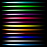 Ensemble d'effets brillants lumineux de lampe au néon de vecteur multicolore Design de l'interface d'utilisateur Lumière lumineus illustration de vecteur