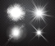Ensemble d'effets de la lumière rougeoyants avec le transparent Images stock