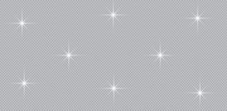 Ensemble d'effets de la lumière rougeoyants d'or d'isolement sur le fond transparent Éclair de Sun avec les rayons et le projecte illustration stock
