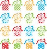 Ensemble d'emballage multicolore de cadeau Images libres de droits