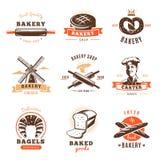 Ensemble d'emblème de boutique de boulangerie Photo libre de droits