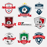 Ensemble d'emblème du football Image stock