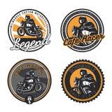 Ensemble d'emblèmes classiques de moto Image stock