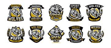 Ensemble d'emblèmes colorés, logos, autocollants, loup agressif prêt à attaquer, grimace, prédateur de grognement Illustration de illustration de vecteur