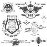Ensemble d'emblèmes de hockey sur glace de vintage Image libre de droits
