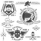 Ensemble d'emblèmes de hockey sur glace de vintage Photos stock