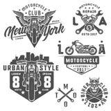 Ensemble d'emblèmes, de logo, de tatouage et de copies de style de vintage de moto Photos stock