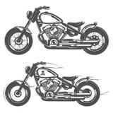 Ensemble d'emblèmes, de logo, de tatouage et de copies de style de vintage de moto Images stock