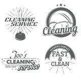Ensemble d'emblèmes de nettoyage Photographie stock libre de droits