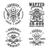 Ensemble d'emblèmes de shérif et de bandit Image libre de droits