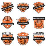 Ensemble d'emblèmes de sport de basket-ball Concevez l'élément pour l'affiche, logo, label, emblème, signe, T-shirt Images libres de droits
